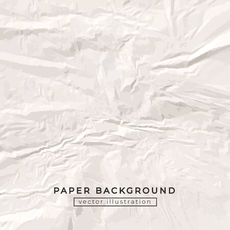 Crumpled white craft paper background vector illustration. Light square ruined sheet of drawing area with copy space. Template of squeezed surface flat style concept Ilustrace