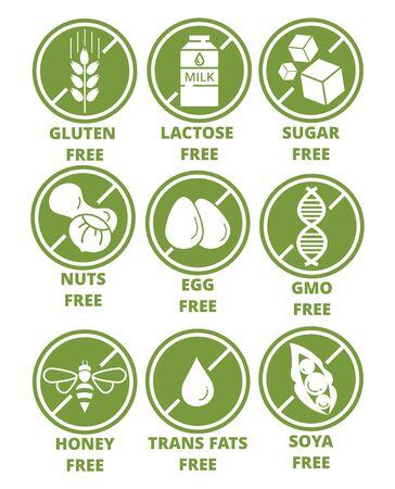 Colección de iconos de etiquetas de advertencia de ingredientes. Conjunto de emblemas redondos verdes libres de alérgenos sin gluten, lactosa, azúcar, nueces, huevos, transgénicos, miel, grasas trans, estilo plano de soja. Dieta, concepto orgánico