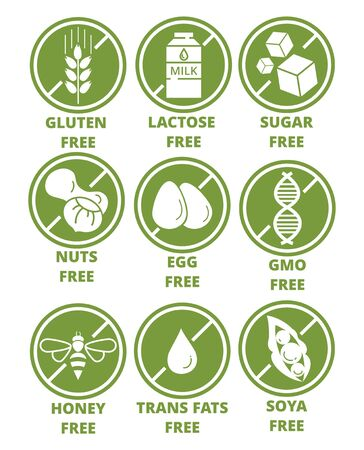 Collection of ingredient warning label icons. Set of allergen free green round emblems without gluten, lactose, sugar, nuts, eggs, gmo, honey, trans fats, soya flat style. Diet, organic concept Ilustração