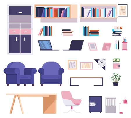 Modern and stylish office furniture collection vector illustration. Set of interior objects such as bookcase, bookshelves, arm-chair, chair desk, laptop and stationary flat style concept