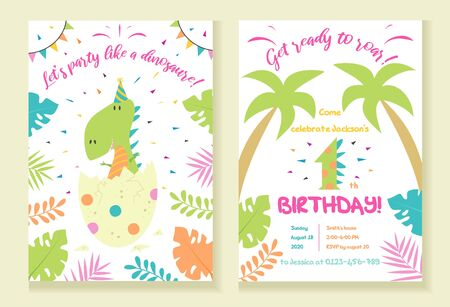 Childrens dinosaur party invitation template vector illustration. Festive inviting card with tropical plants, palms, dino and lettering get ready to roar flat style design. Happy Birthday concept