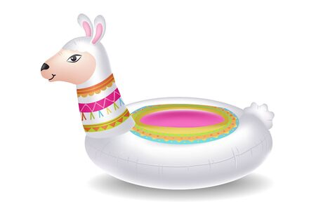 Childrens swimming circle in shape of alpaca vector illustration. Llama pool ring floater rubber inflatable toy flat style concept. Summer time concept