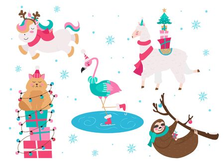 Christmas animals unicorn flamingo cat sloth collection vector illustration. Set of xmas characters wearing cozy and warm sweaters in winter snowy weather flat style design. Happy holidays concept Ilustração