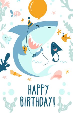 Happy birthday greeting card in marine style vector illustration. Festive template with cute smiling baby shark, fishes, ramp and starfish. Invitation on birth party flat style concept