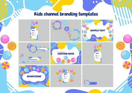 Children channel branding colorful template vector illustration. TV or social networks kids show design for cartoon name, advertising flat style concept
