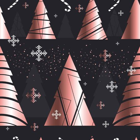 Elegant christmas new year seamless pattern vector illustration. Rose gold fir-trees with snowflakes endless texture flat style design on dark background. Xmas concept Ilustração