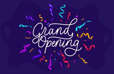Grand opening festive banner on blue background vector illustration. Template with white lettering with bright colorful ribbons flat style concept. Advertising concept
