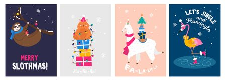Christmas cute greeting cards with happy animals set vector illustration. Unicorn, flamingo, cat, sloth having fun under snowy weather flat style design. Happy holidays concept