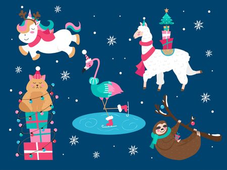 Christmas animals cat sloth unicorn flamingo set vector illustration. Holidays characters wearing cozy and warm clothes in winter snowy weather flat style design. Xmas concept