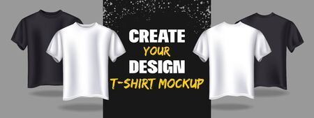 Creating fashion t-shirt banner mockup template vector illustration. White and black shirts with empty copy space for design flat style. Stylish and creative designing of clothes concept