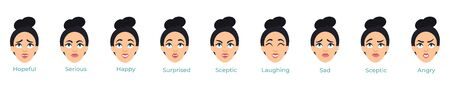 Young female pretty face with different expressions set vector illustration. Emotions of woman avatars showing anger, sadness, surprised, happiness,sceptic, serious flat style on white background Ilustração