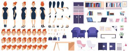 Constructor de jefe de niña con muebles de oficina establece ilustración vectorial. Personaje femenino con partes del cuerpo, emociones y cosas para el concepto de estilo plano de diseño