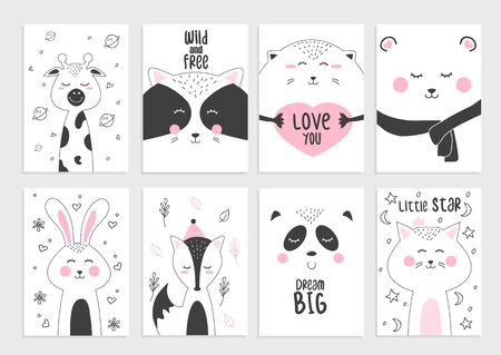 Cute posters and cards with funny animals set vector illustration. Joyful racoon hedgehog cat and fox with nice inscription. Prints for female t-shirt concept