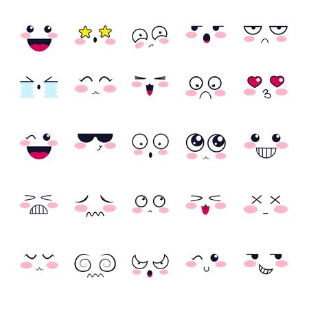 Kawaii cute emotions of different characters set vector illustration. Collection of pretty faces showing diverse types of mood of to send in message flat style concept