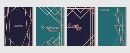 Geometric templates with golden lines set vector illustration. Festive card for wedding or birthday party invitation in blue and green tones flat style concept. Place for text Ilustração