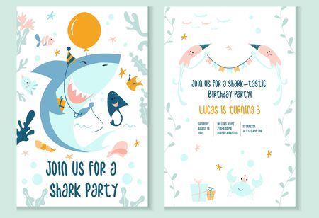 Cute baby shark party invitation template vector illustration. Join us for shark-tastic celebration of happy birthday flat style concept. Inviting card in marine design Ilustração