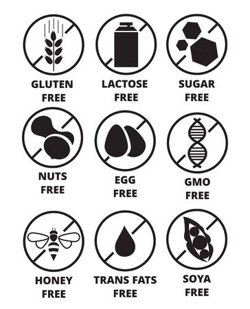 Allergen free labels set isolated on white vector illustration. Collection of food emblems without gluten, lactose, sugar, nuts, eggs, gmo, honey, trans fats, soya flat style. Diet, organic concept