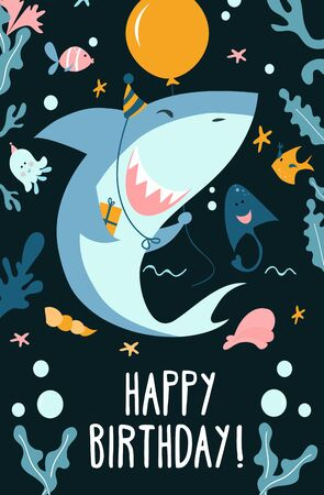 Childrens shark party invitation template vector illustration. Festive invitation or greeting card with cute baby shark with balloons, fishes, ramp and starfish on dark background