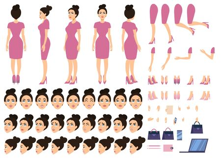 Pretty girl boss in pink dress constructor set vector illustration. Female character with various views, hairstyles, poses and gestures in front, side, back view flat style concept