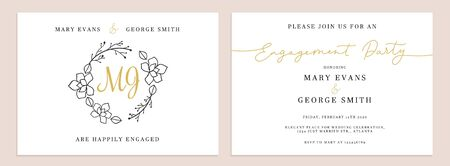 Set of wedding invitation cards design templates vector illustration. Collection consists of inviting to engagement party with stylish floral elements and place for text