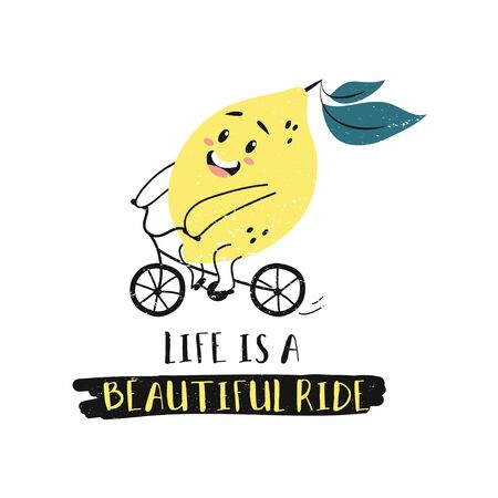 Summer card with cartoon cute lemon character vector illustration. Template with cheerful lime riding bike and smiling. Colorful lettering like is a beautiful ride. Isolated on white background
