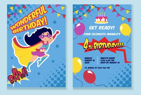 Birthday party invitation card with cute girl vector illustration. Birth inviting template with funny kid in superhero costume, air balloons and holiday cake Ilustração