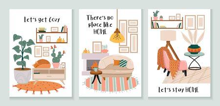 Jeu de cartes confortables avec illustration vectorielle d'intérieurs et de décorations. La collection se compose de modèles avec des maisons confortables et le lettrage permet de se mettre à l'aise, il n'y a pas d'endroit comme à la maison, restons à la maison