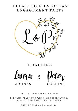 Modern wedding invitation design template vector illustration. Festive inviting card for engagement party with floral elements and heart-shaped frame. Isolated on white background