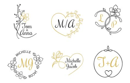 Wedding invitation labels with floral elements vector illustration. Festive emblems with names of bride and groom with blossom decorations. Isolated on white background Ilustração