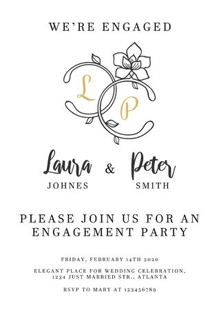 Wedding invitation design template with floral elements vector illustration. Stylish inviting template to engagement party with place for text. Isolated on white
