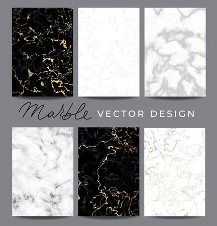 Marble vector design backgrounds collection. Set consists of black and white luxury templates with golden lines for wedding invite, greeting, birthday card and covers