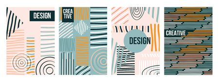 Abstract trendy creative design collection vector illustration. Set consists of colorful templates with abstractive backgrounds for poster, banner, or brochure