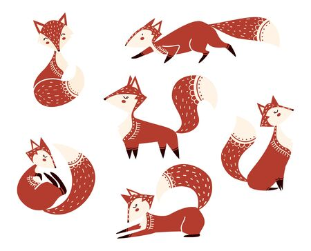 Cute cartoon foxes characters collection vector illustration. Set consists of funny she-foxes in different pose. Red animals sitting, running, lying, playing and standing flat style design