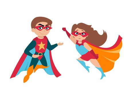 Superhero boy and girl in cute costumes and masks vector illustration. Template with funny children characters isolated on white background. Childhood concept