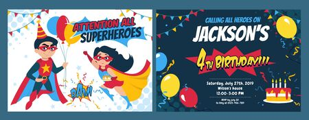 Birthday party invitation card with cute girl and boy heroes vector illustration. Festive invitation template with superheroes, balloons and holiday cake. Kids birth concept