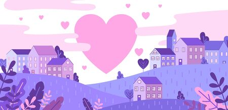 City of love and pink hearts flying in sky vector illustration. Cute houses standing on hills cartoon design. Pastel colours. Valentines day and romance concept