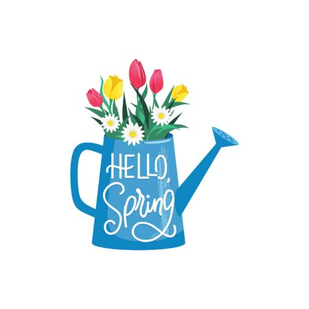 Blooming flowers in watering can with hello spring text vector illustration. Greeting card with colourful fresh bouquet cartoon design. Celebration concept. Isolated on white