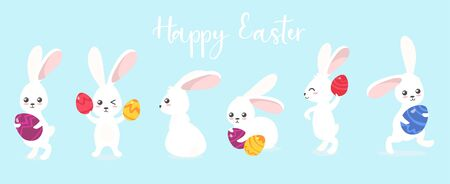 Happy easter greeting card with cure rabbits vector illustration. Template with white fluffy bunnies in different poses with colourful treat eggs cartoon design. Holiday and spring concept