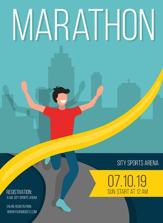 Marathon poster with happy guy crosses finish vector illustration. Athlete man running on road with building behind flat style design. City sports arena. Sport competition and champion concept Ilustração