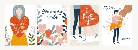 Collection of festive valentines day cards vector illustration. Be my valentine you are my world I love you my love forever cartoon design. Lettering and decorative greeting. Holiday concept