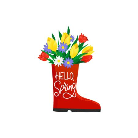 Hello spring lettering on red rubber boot with bouquet vector illustration. Bright shoe with yellow tulips and purple daisies cartoon design. Seasonal greeting card concept. Isolated on white Ilustração