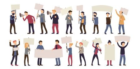 Group of male and female protest isolated on white vector illustration. People holding signs and placards flat style design. People against violence, pollution or discrimination