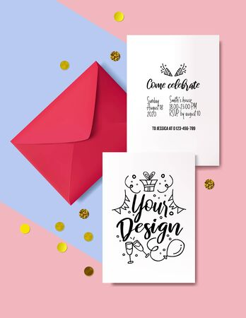 Template for decorative invitation cards vector illustration. Red realistic envelope, papers for inviting design and golden decor. Festive event and minimalism concept