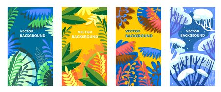 Seasonal backgrounds with trees and leaves set vector illustration. Collection of winter spring summer autumn seasons templates flat style design. Nature and season of the year concept
