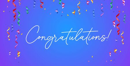 Congratulation banner with confetti on blue gradient background vector illustration. Congrats template with white lettering. Festive ribbons and serpentine falling down 向量圖像