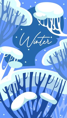 Frost winter seasonal background with lettering vector illustration. Winter-time forest trees and twigs decorated with bunch of snow flat style design. Winter-tide season and nature concept
