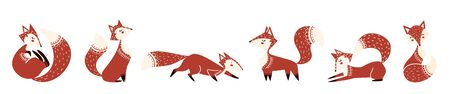 Collection of cute foxes in scandinavian style vector illustration. Set of she-foxes in various poses sitting, running, sleeping flat style design. Wildlife concept. Isolated on white