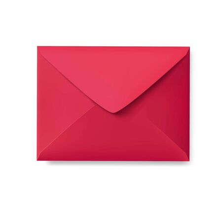 Realistic red envelope empty post letter cover vector illustration. Festive flat paper with sealable flap for christmas mailing. Invitation message concept. Isolated on white Ilustração