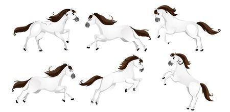 Set of cartoon horses in different poses vector illustration. Collection of cute steeds with brown luxury mane flat design. Animal and race concept. Isolated on white background Stock Illustratie