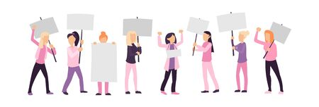 Women empowerment protest isolated on white vector illustration. Female activists holding blank placards flat style. Feminist demonstration and girl power movement concept Ilustração
